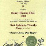 Douay-Rheims NT - 1600 - 1 TIMOTHY 1:1-11