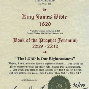 King James – 1620 – JEREMIAH 22:29-25:12