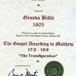 Geneva - 1605 - MATTHEW 17:2-19:9