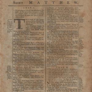 King James (Thomas) – 1791 – MATTHEW 1:1-3:9