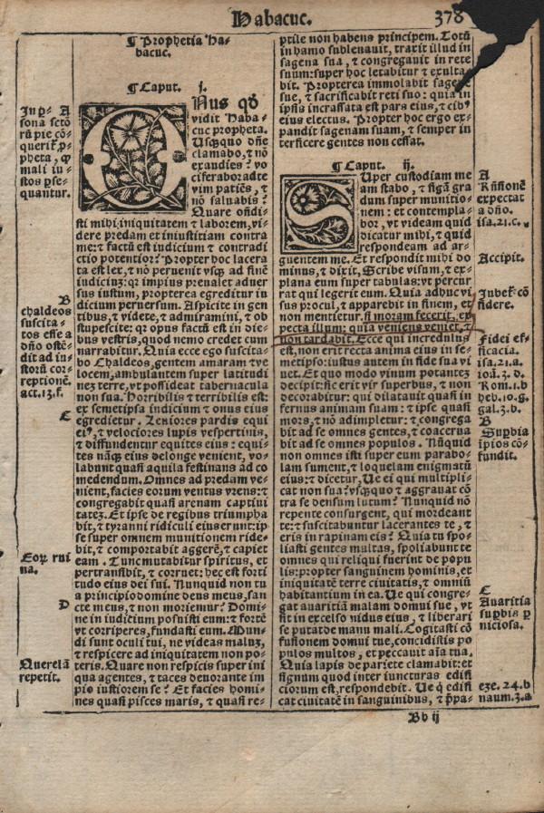 Biblia Sacra - 1531 - HABAKKUK (all), and Prologue to Zephaniah